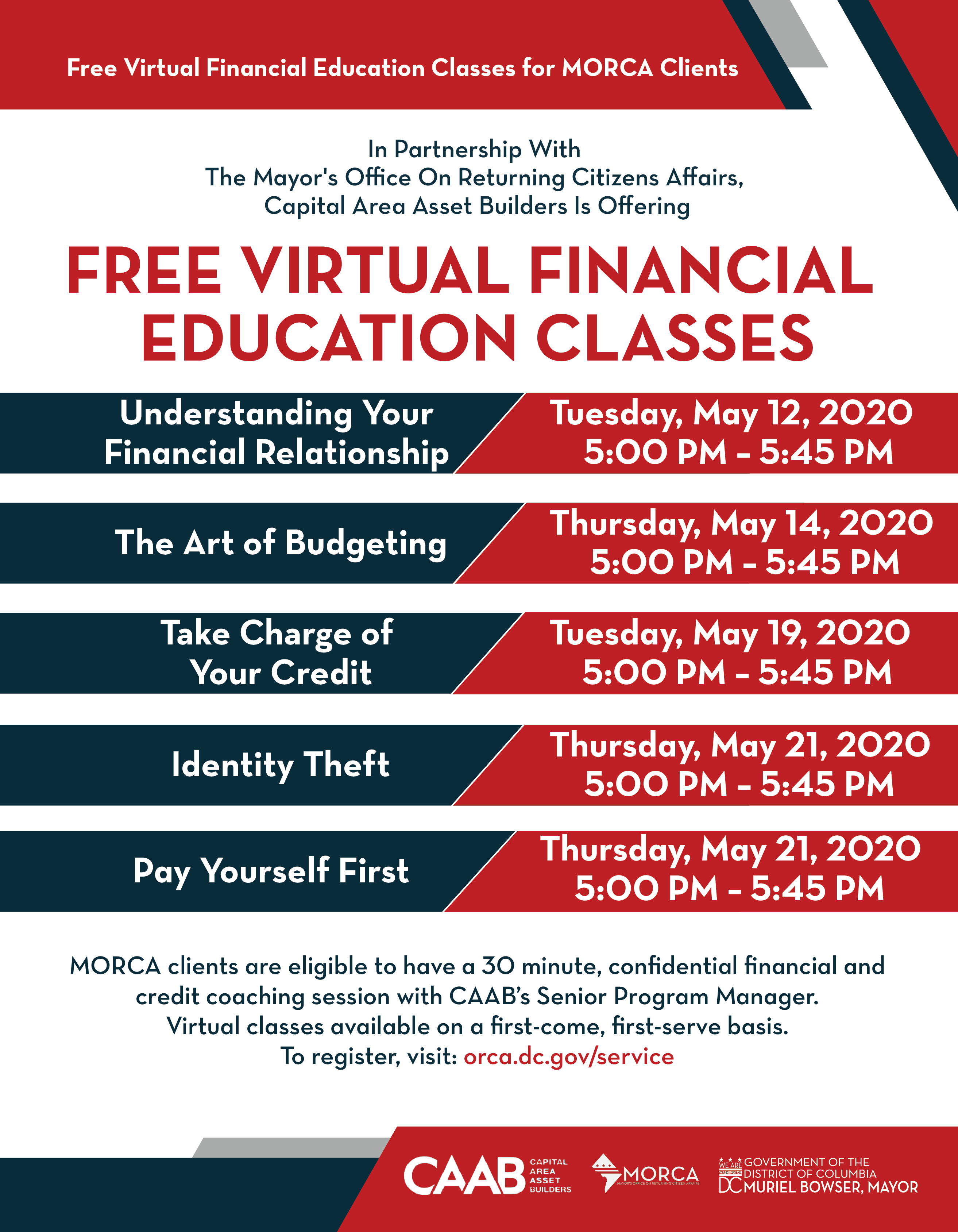 To register for the classes please click this link:https://dcmayor.secure.force.com/MORCARegistration